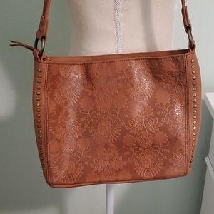 The Sak Embossed Leather Shoulder Bag